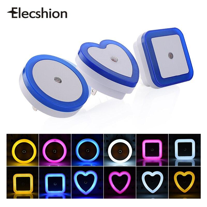 Elecshion LED Night Light Lamp AC 110V 220V Sensor Control Auto Baby Room Bedroom Automate Colorful Light EU PLUG Wall Lamp