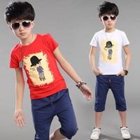 kids sport sets 2019 summer t shirt +pants black/red/blue cartoon print cotton boys suit children summer clothes outwear