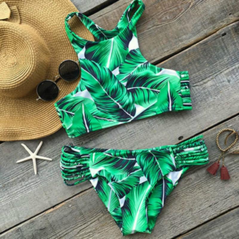 2 PCS Sexy Women Bikini Set Push-up Padded Bra Swimsuit Triangle Swimwear Print Summer Beachwear Leaves Bathing Suit WR 0