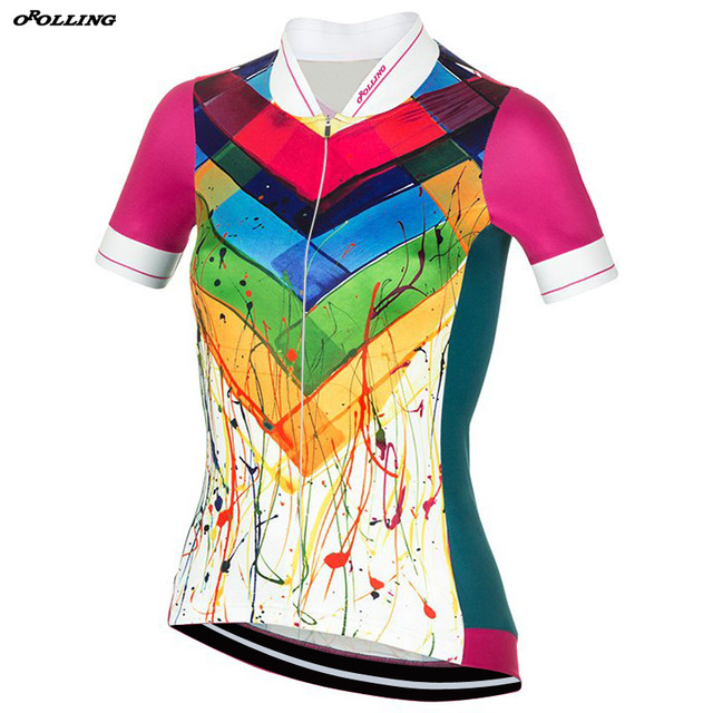 91c23ac41b6 Women New 2018 Classical Girl Colors Drawing Pro Team Maillot Cycling  Jersey Customized Orolling Tops