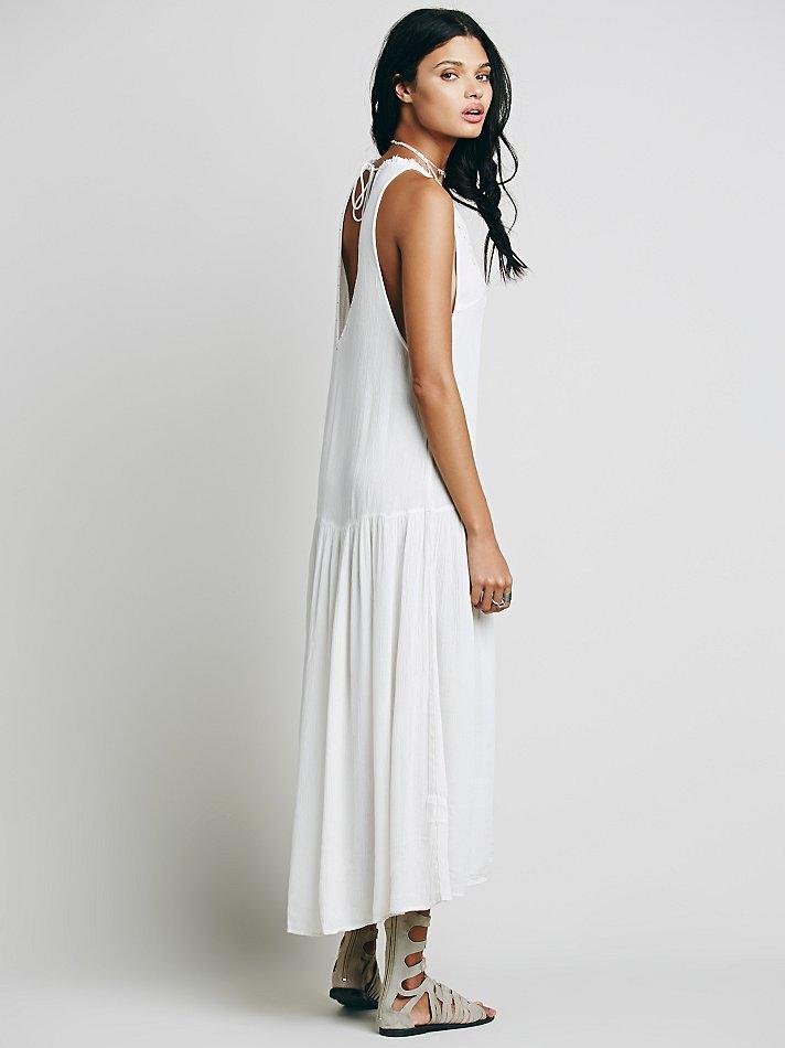 Hippie Profond Perles V retour Boho Broderie Chic Beach Robes Coton Bohème Sexy Mujer Vestidos blanc Bleu Vacances Summer AYwHq7tx