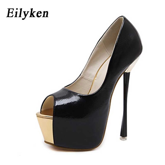 Eilyken Stylish Women Red Wedding Shoes Peep Toe Super Platform High Heels  Shoes Sexy Woman Pumps Apricot 16cm size 35-40 3d0fb6f34370