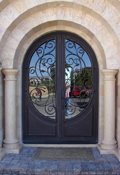 Porte en fer forg porte d 39 entr e en fer forg porte rot 037 avec verre dans portes de for Porte en fer et verre