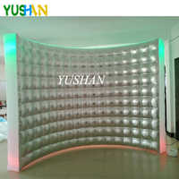 10ft Silver&White LED Inflatable Photo booth Wall Backdrop with Multi Color LED lights and Air Blower Inflatable Wall For Party