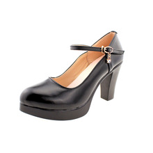 Uninnova Women's Mary Janes Split Leather Platform High Heels Buckle Shallow Office Lady Pumps Court Shoes Plus Size32-43 WP062