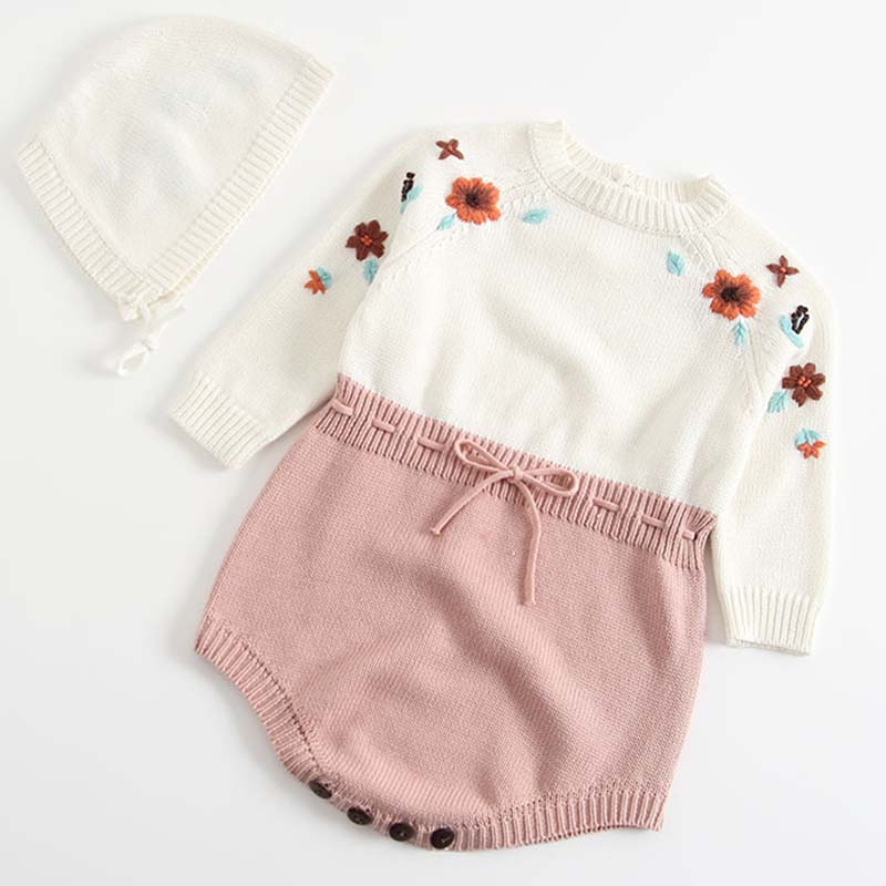 Baby Knitted Clothes Kids Baby Girl Bodysuits Hand Embroidery Knitting Autumn Knitted Coveralls Children Clothing With Hood