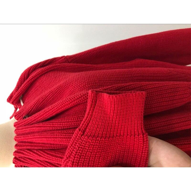 Alta Maglia Coulisse Donne Rosso Donna Maglioni 2018 Slash Sexy Per E Moda Di Spalla Autunno Neck Off Strada La Pullover Maglie Pieghe xY11dqzU7w