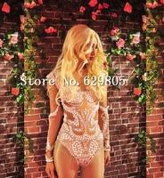 Сексуальные жемчуг одежда с длинным рукавом боди Для женщин наряд фотосессии танцы тело костюм ночной клуб бар костюм певица Купальник Оде