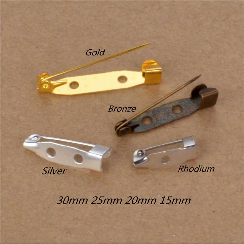 2 lubang Basis Kosong pengaturan kembali pin Kilt Keselamatan pin jarum garmen syal syal jilbab gesper perekat pemegang bar logam Lem pada