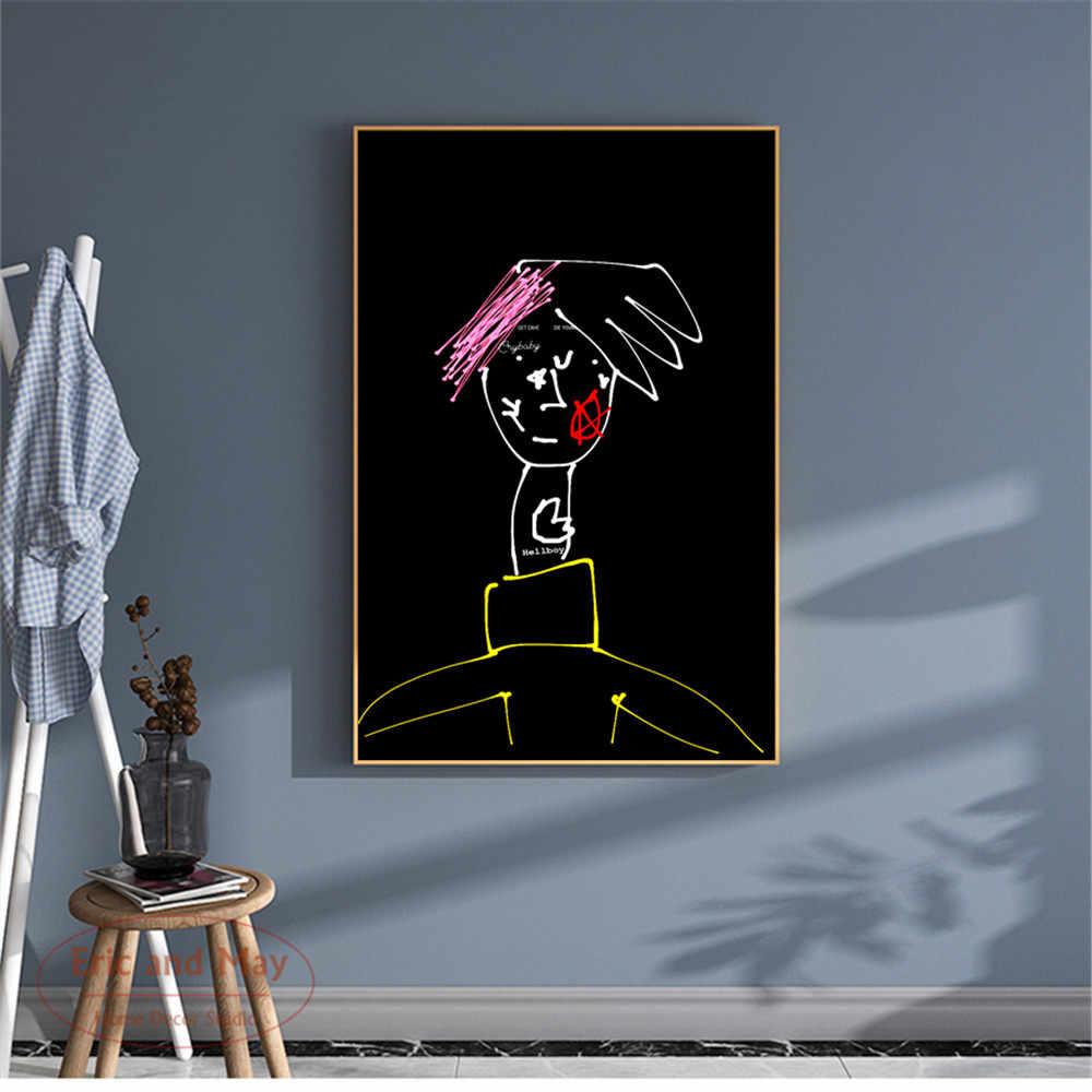 Lil peep desenho dos desenhos animados design minimalista lona impressão da arte pintura moderna imagem de parede decoração para casa quarto cartazes decorativos sem moldura