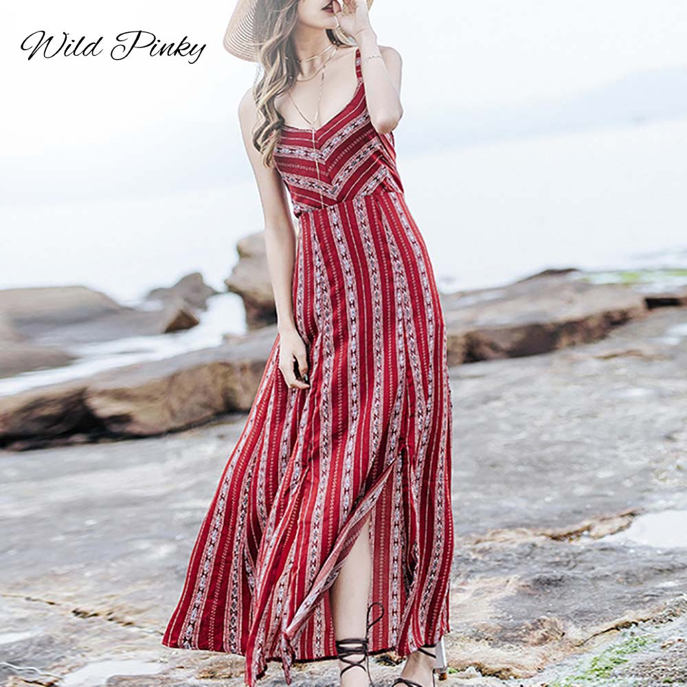 WildPinky 2020 Summer Long Dress Floral Print Boho Beach Dress Striped Maxi Dress Women Party Dress Sundress Vestidos De Festa