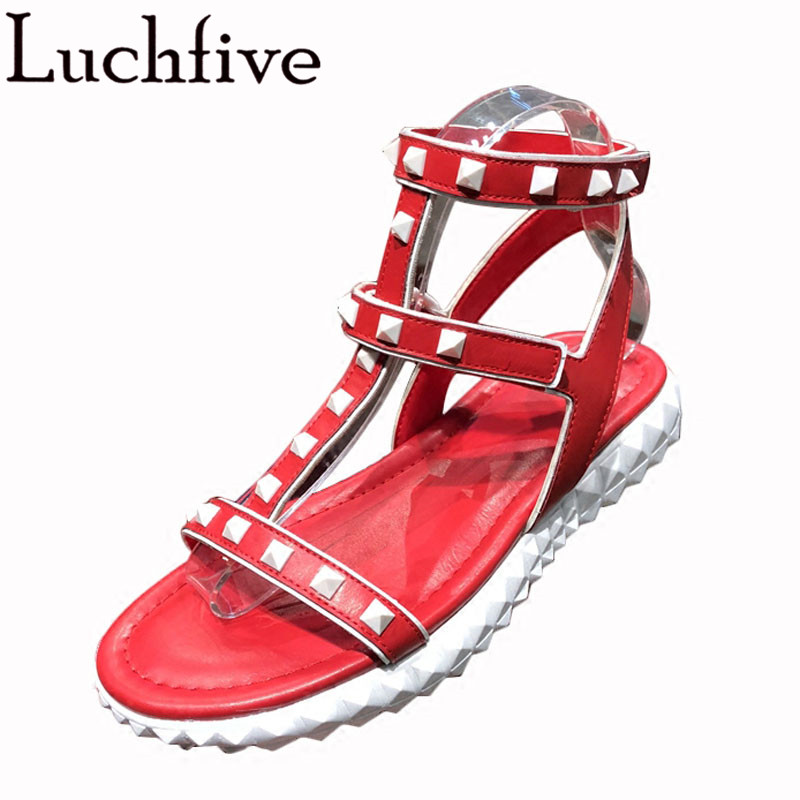Casual gladiator sandals women platform flat heels ankle strap cross tied rivets studded genuine leather summer shoes for ladies timetang 2017 leather gladiator sandals comfort creepers platform casual shoes woman summer style mother women shoes xwd5583