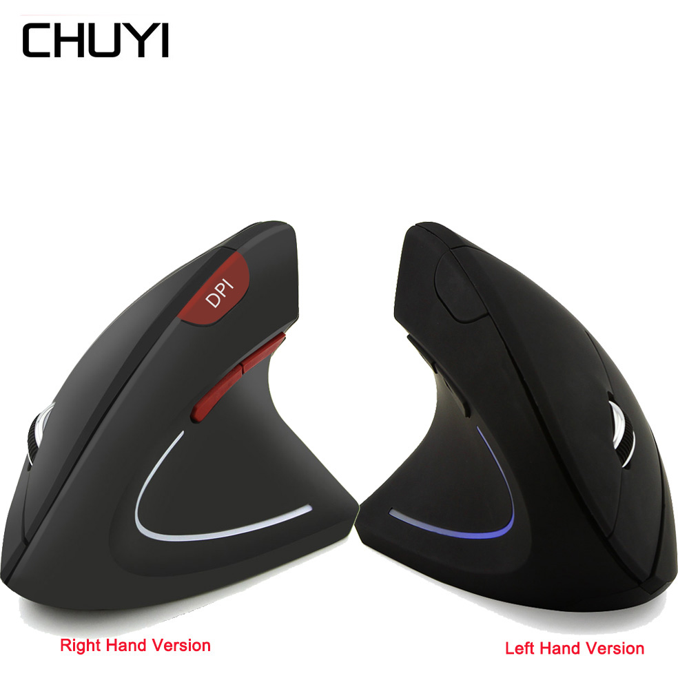 CHUYI Wireless Vertical Mouse Ergonomic Gaming Right/Left-handed Mouse USB Optical Mice With Mouse Pad For Computer PC Laptop