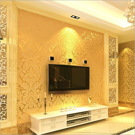 European classical royal golden Damascus wallpaper Non-woven flocking wall stickers sitting room the bedroom TV setting wall 2016 new hot sale stripe wallpaper non woven wall stickers simple bedroom living room tv setting wall paper the moonlight forest