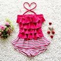 Baby Girl Summer Swim Suit One Piece Cake Stripe Set Beach Swimwear Dress Toddler Kids Cute Swimwear S2005