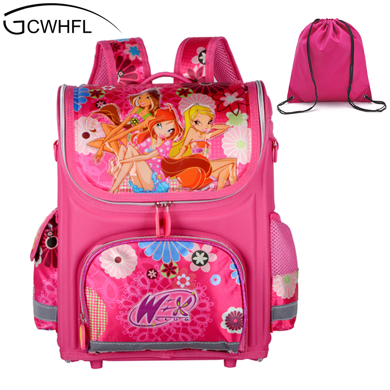GCWHFL Brand Orthopedic Schoolbag Girls Backpacks For School Kids Rucksack Children School Bag Princess Knapsack Mochila