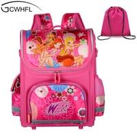 Orthopedic Children School Bags For Girls New 2014 Kids Backpack Monster High WINX Book Bag 3