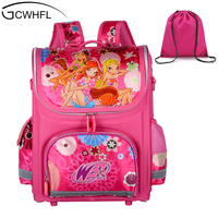 Orthopedic Children School Bags For Girls New 2014 Kids Backpack Monster High WINX Book Bag 3