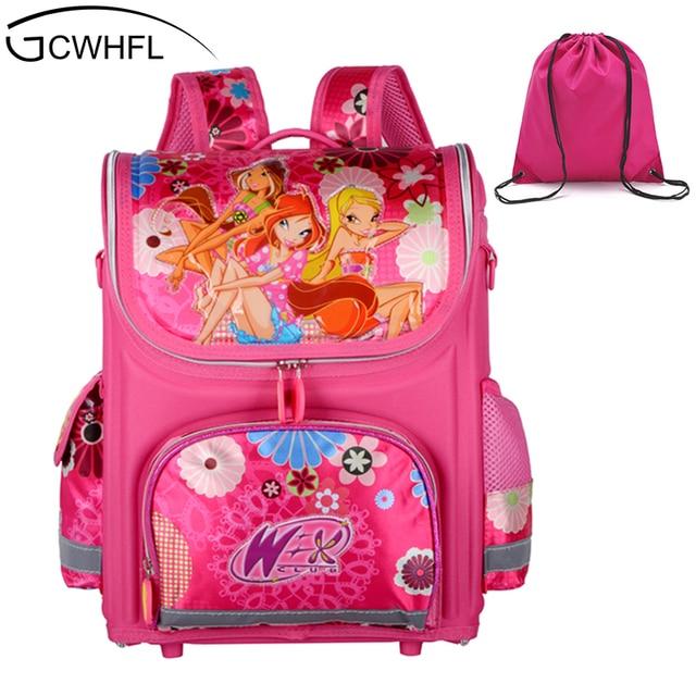 Gcwhfl бренд ортопедические школьный Обувь для девочек Рюкзаки для школьников рюкзак Детская школьная сумка принцессы Рюкзак Mochila Escolar