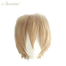 SNOILITE Straight Thick Synthetic Full Short Cosplay Wig Party Hair Halloween Heat Resistant Linen Blonde