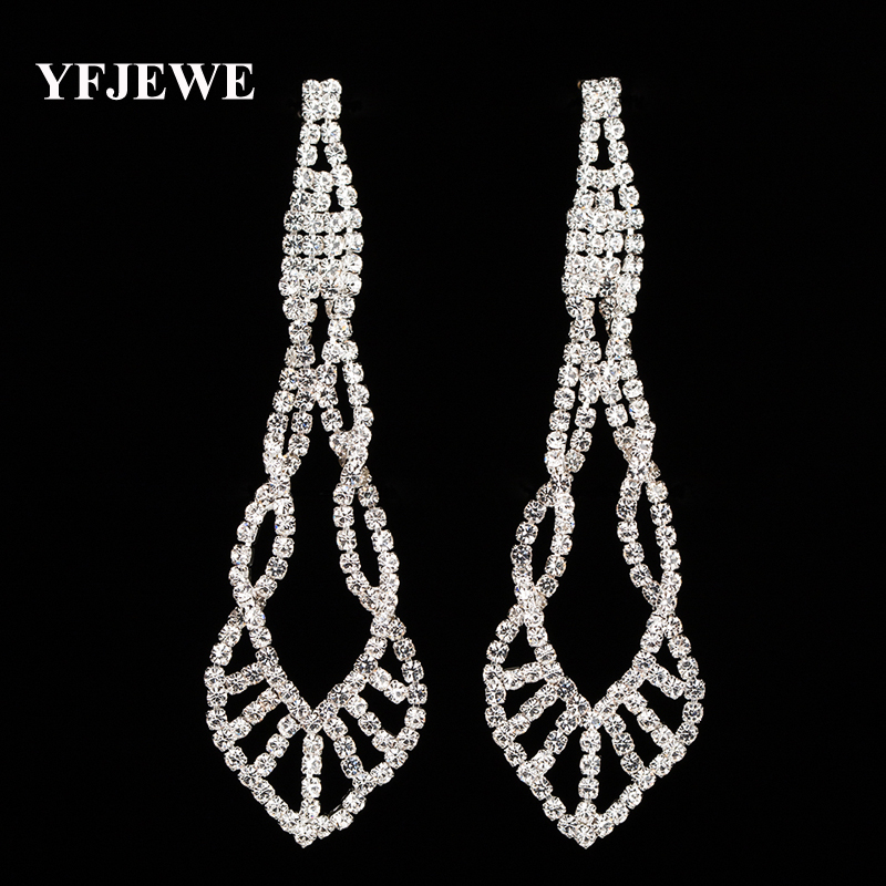 Sparkling Crystal Block Ring Chandelier: YFJEWE Sparkling Crystal Evening Party Earrings Wedding