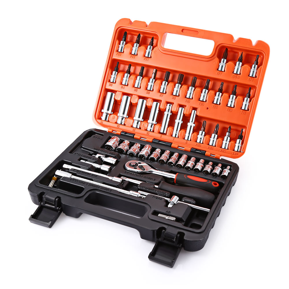 53pcs Automobile Motorcycle Car Repair Tool Set Precision Ratchet Wrench Sleeve Universal Joint Hardware Tools Kit Auto Tool Box