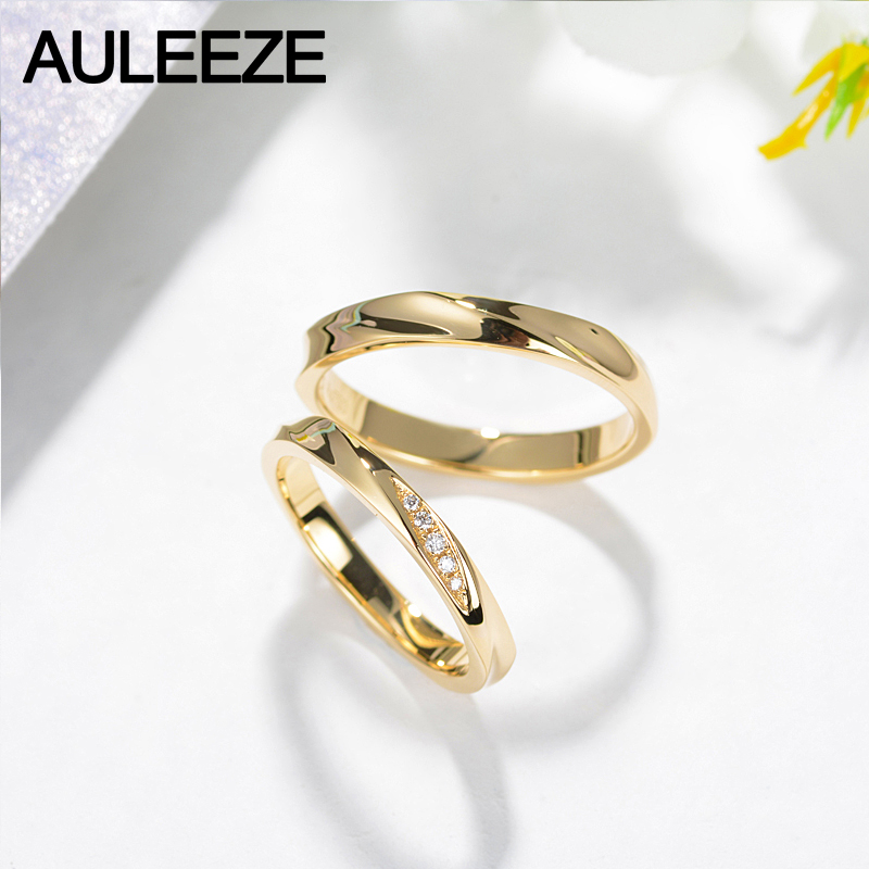 259d8b0881 AULEEZE Couple Ring Real Diamond Jewelry Simple Classic Lovers Wedding Band  18K Yellow Gold Rings for Women Men Jewelry Gift-in Rings from Jewelry ...