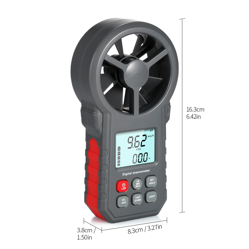 Digital Anemometer as Wind Speed Meter with Flashlight for Air Velocity and Air Temperature Test 10