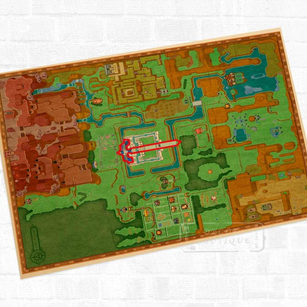Hyrule Maps The Legend Of Zelda Video Game Poster Retro Canvas Painting Diy Wall Stickers Art Home Bar Posters Decor Gift