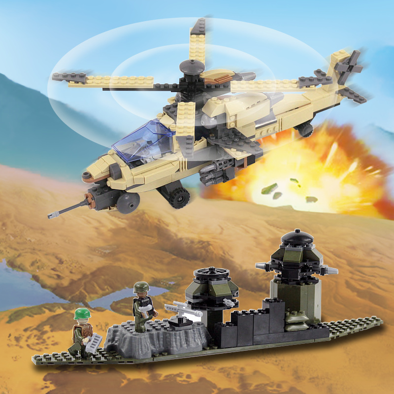 COGO Military Educational Building Blocks Toys For Children Gifts Army Helicopter Apache Soldier Compatible Legoe