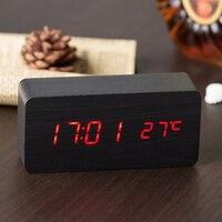 유용한 나무 LED 알람 시계 디스플레이 날짜 + 시간 + 섭씨/화씨 온도 사운드 제어 기능 테이블 데스크탑 시계