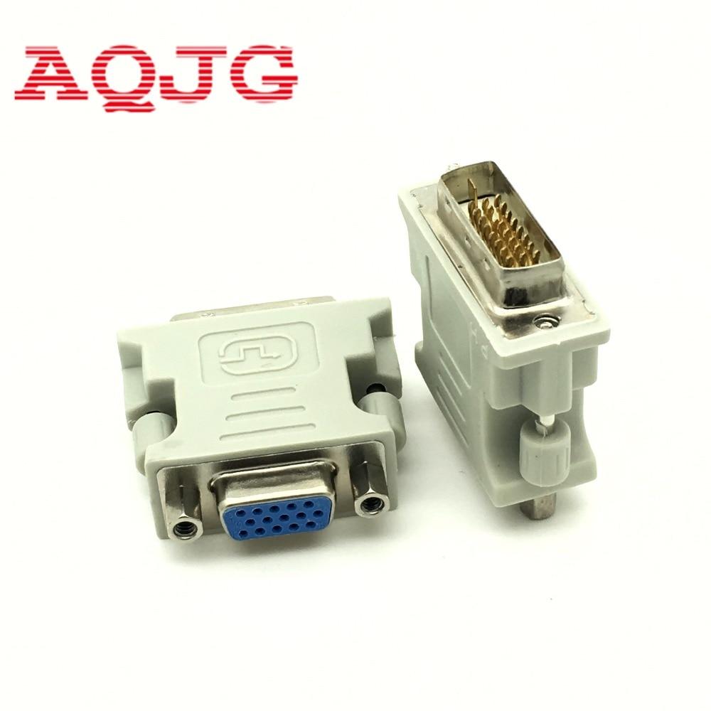 DVI-I 24+1 Male To HD 15 Pin VGA SVGA Female Video Card Monitor LCD Converter Adapter White Wholesale AQJG