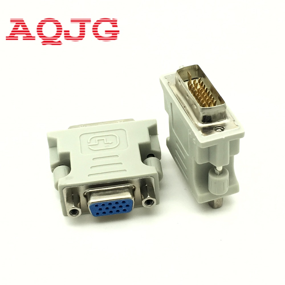 DVI-I <font><b>24</b></font>+1 Male to HD 15 <font><b>Pin</b></font> VGA SVGA Female Video Card Monitor LCD Converter Adapter White Wholesale AQJG image