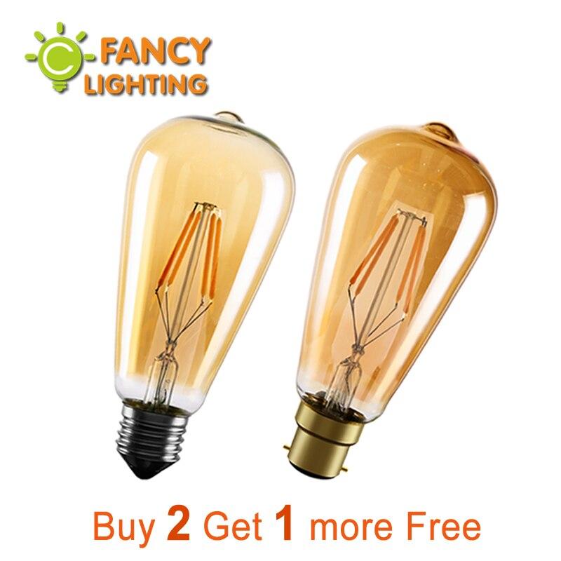 Led light bulb st64 golden led lamp e27 vintage edison filament bulb 220v  power led energy saving lamp for