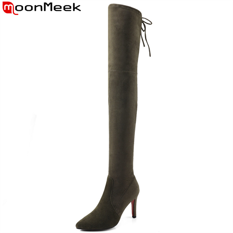 MoonMeek black army green women boots pointed toe zipper cross tied cow suede thin heels over the knee boots winter ladies boots