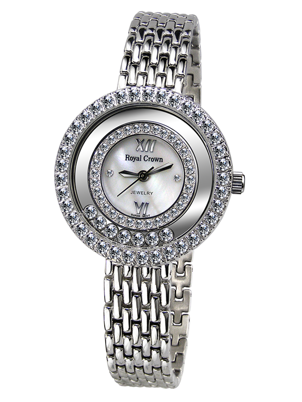 Royal Crown Jewelry Watch 3628S Italy brand Diamond Japan MIYOTA platinum Stainless Steel Bracelet Rhinestone Girl Gift royal crown jewelry watch 3632 italy brand diamond japan miyota platinum dress colorful bracelet brass rhinestone