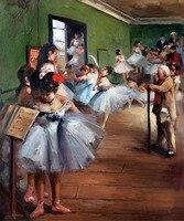 Hecho a mano Ballet bailarín Niñas pintura la clase de baile Edgar Degas arte regalos pintura al óleo sobre lienzo decoración de la pared