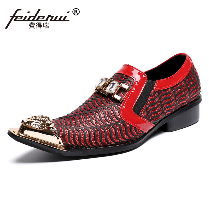 Plus Size Elegant Pointed Toe Slip on Striped Man Loafers Genuine Leather Italian Designer Wedding Party Men's Dress Shoes SL152