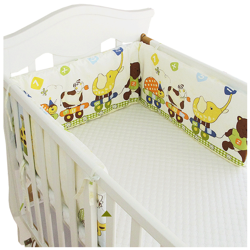 Simple Style U Shaped Baby Bed Bumper Detachable Cotton Crib Bumper Baby Nursing Crib Protector Pad Long Cot Bumper, 180*30cm