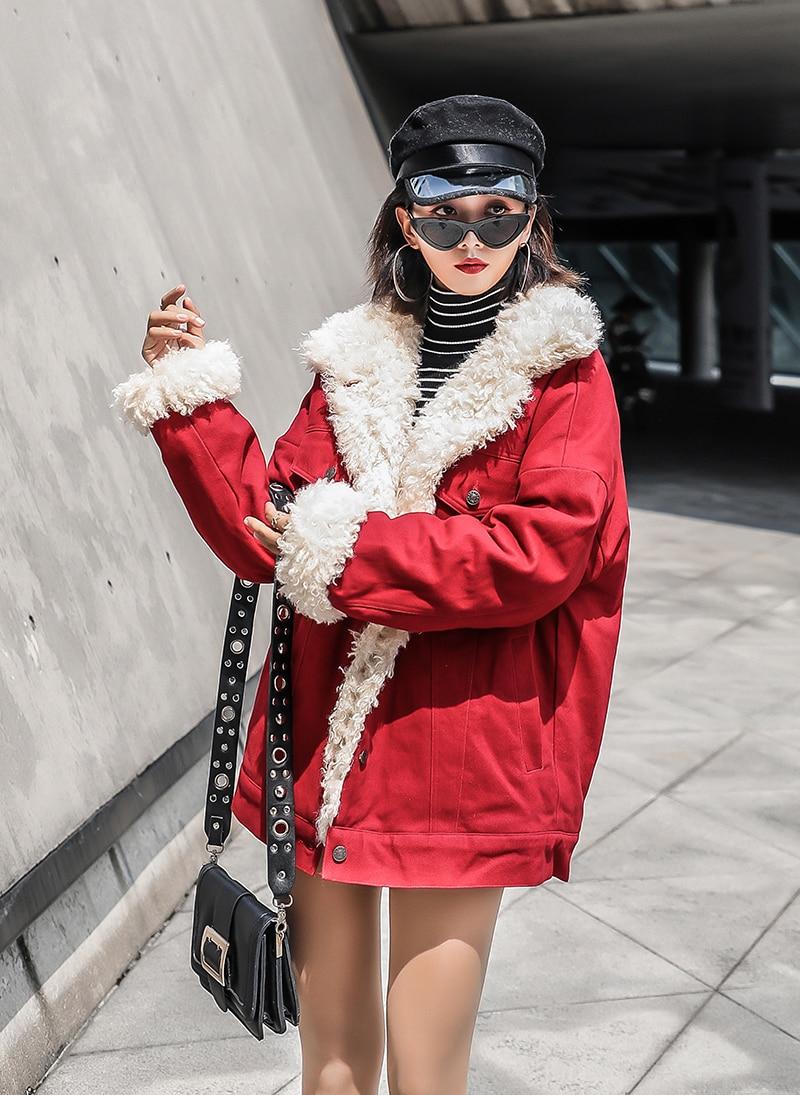 Coréenne Épais Agneaux Survêtement Rouge Manteau Wang Whitney Mode Laine Parkas 2018 Femmes Hiver Faux Style Doublure Streetwear Automne AxY6q