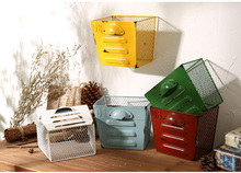 Retro Color Rectangle Iron Net Desk Office Storage Basket Multifuction Iron Craft Home Coffee Store Decoration