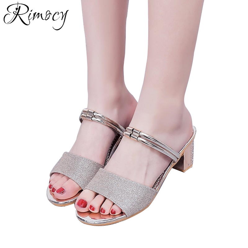 271e9ae05fbe4 Rimocy two way wear women summer sandals thich high heels gold silver  glitter open toe slides shoes woman casual beach slippers-in High Heels  from Shoes on ...