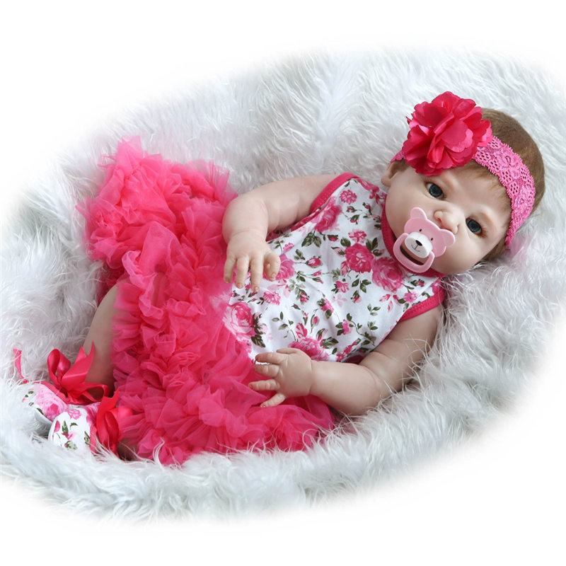 55CM Full Silicone Baby Dolls New Reborn Baby Girl Toys Lifelike Reborn Baby With Flower Gift Children House Play Partners