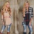women fashion grid printed v-neck T-shirt female plaids V-neck casual three quarter sleeve lattice plus size S-3XL tee T540