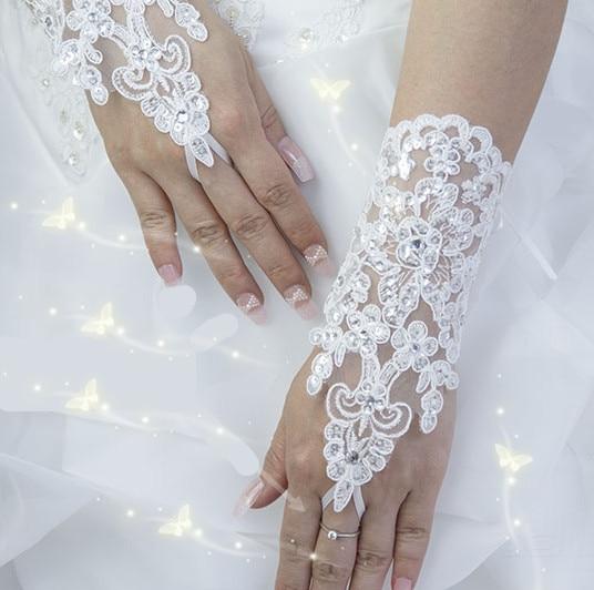 Новая корейская мода цветок на запястье кружева со стразами для невесты перчатки свадебные перчатки Короткое Платье Рукавицы