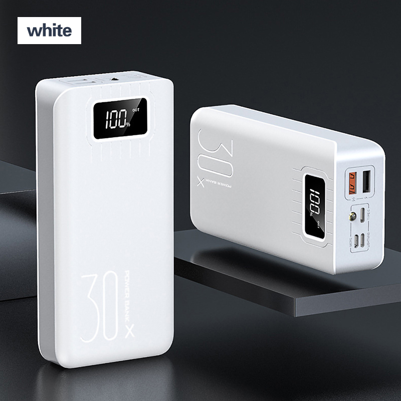 2USB светодиодный внешний аккумулятор 30000 мАч, портативная зарядка, внешний аккумулятор для iPhone, Xiaomi, samsung, huawei, Poverbank, внешний аккумулятор - Цвет: White