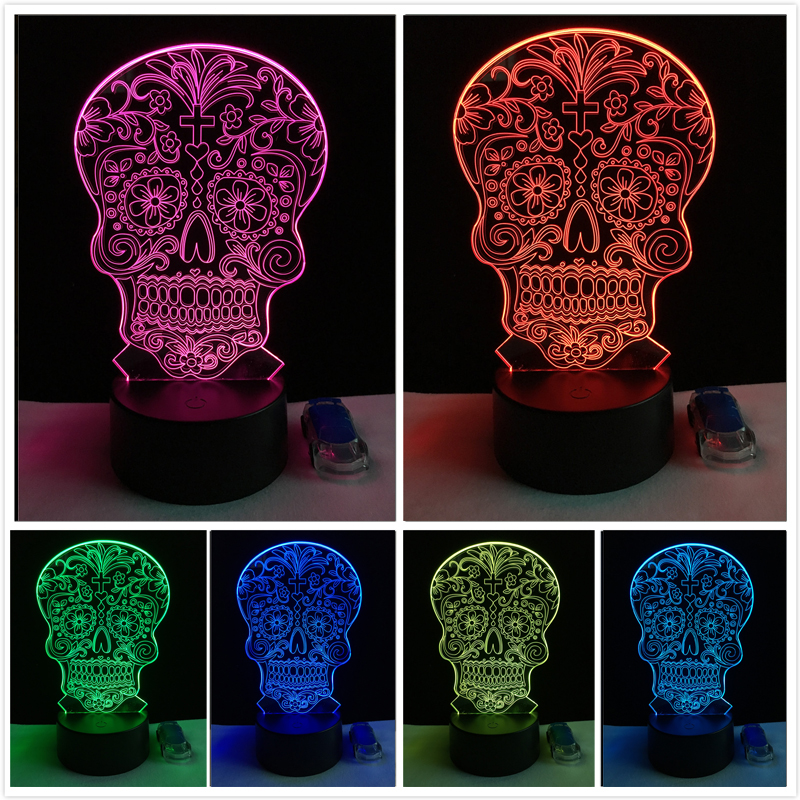 Creative Gifts Touch Sensor colorful 3D Skull Flower Head LED Night Lights of Crossbones table lamp Child Baby Sleeping Lighting
