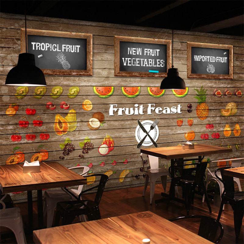 Custom 3d wallpaper wood fruit garden vegetable dishes large blackboard personality style tea cafe mural Continental wallpaper shceppach garden tapetool sets fruit vegetable branches binder non waste taping machine garden tapener tool stem strapping tying