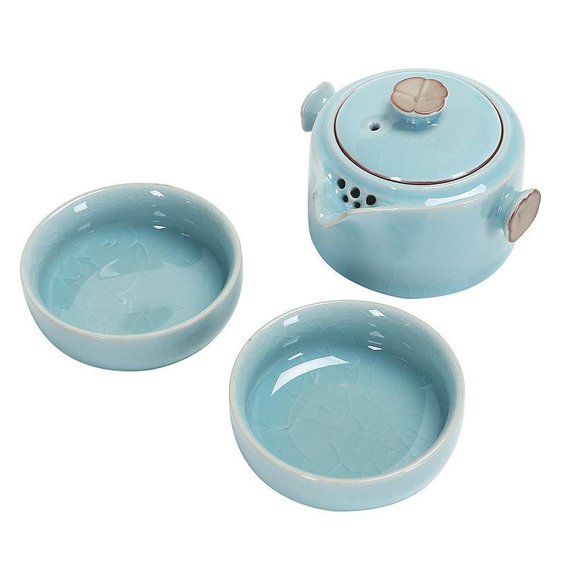 Nouveau chinois Kung Fu thé ensemble en céramique Portable théière ensemble extérieur voyage Gaiwan thé tasses de thé pour mariage fête cadeau avec boîte