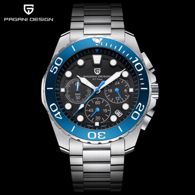 4c19f17e4391 PAGANI diseño de moda Casual de hombre de marca reloj de acero inoxidable  de 30 M
